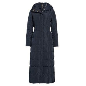 Cole Haan Down Quilted Coat with Inner Bib in Navy